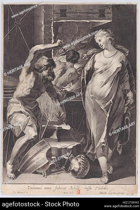 Vulcan forging the armor of Achilles, 1624-75. Creator: Pierre Daret