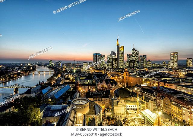 Frankfurt am Main, Hesse, Germany, skyline of Frankfurt with the city centre and the financial district, dusk