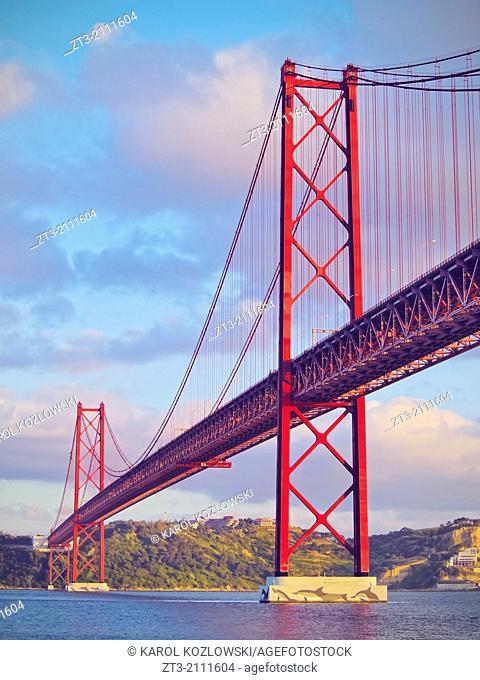 25 de Abril Bridge over the Tagus River in Lisbon, Portugal