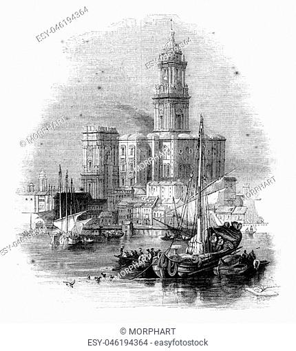 Malaga Cathedral, vintage engraved illustration. Magasin Pittoresque 1844