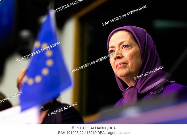 23 October 2019, France (France), Straßburg: Mariam Radzhavi, President of the National Resistance Council of Iran, speaks during a meeting of the Organization...