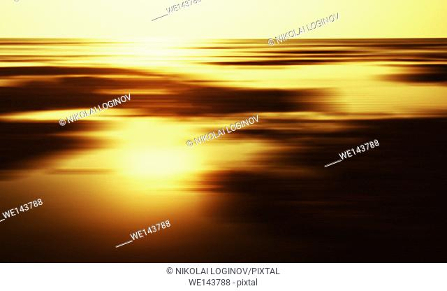 Horizontal golden sunset landscape horizon motion abstraction background backdrop