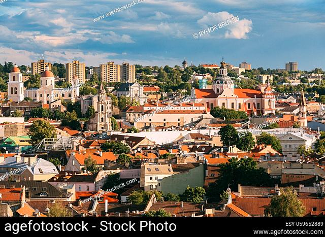 Vilnius, Lithuania. Orthodox Church Of The Holy Spirit, Church Of The Blessed Virgin Mary Of Consolation, Church Of St. Casimir