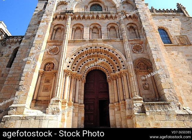Zamora city, cathedral (romanesque 12th century). Bishop portico. Castilla y Leon, Spain