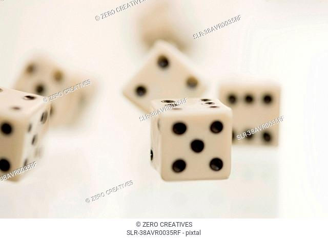 Close up of tumbling dice