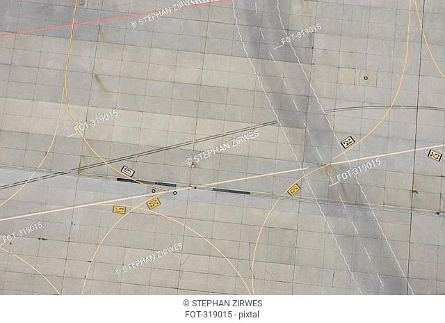 Aerial view of marking on airport tarmac