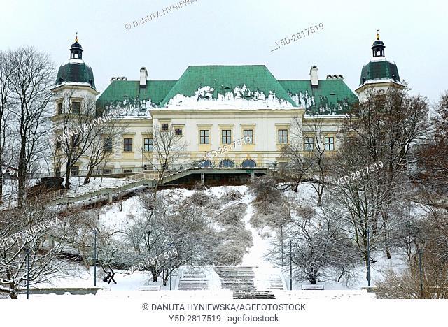 Baroque-Neoclassical Ujazdow Castle - Zamek Ujazdowski - in historic Ujazdow district between Ujazdow Park - Park Ujazdowski and Royal Baths Park -Lazienki...