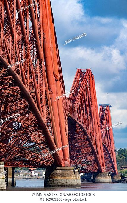 View of historic forth Railway Bridge from South Queensferry in Scotland, United Kingdom