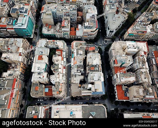 Bird's eye view of the Greek city of The saloniki. Aerial city view with crossroads and roads, houses, buildings