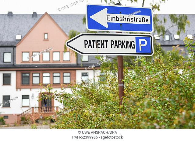 Road signs are pictured at the grounds of the former US hospital in Heidelberg, Germany, 30 September 2014. Dozens of cultural events will take place at the...