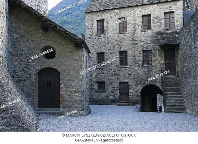 Courtyard of Montebello Castle in Bellinzona