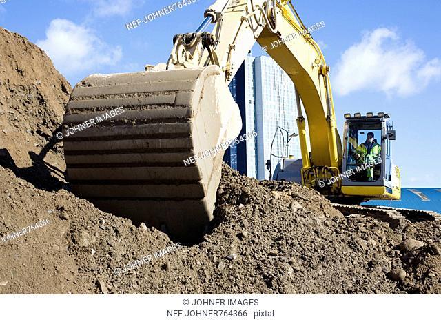 Excavator at work, Sweden