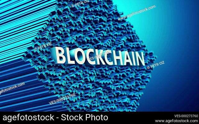 Blockchain decentralized database as a virtual 3D motion video concept