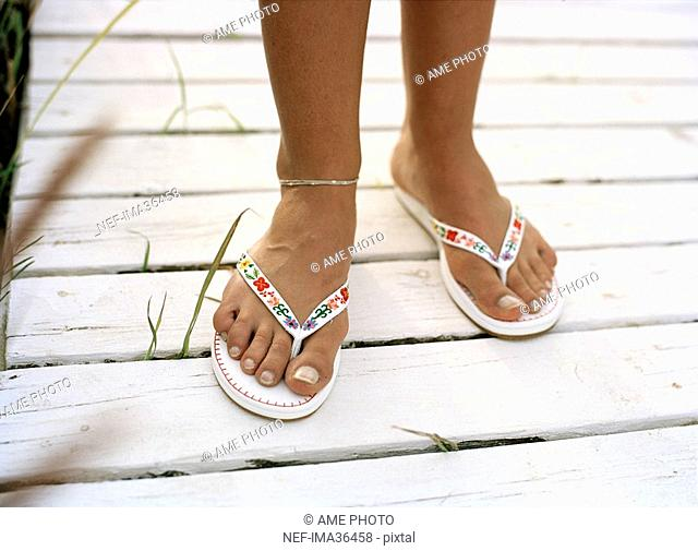 Bare feet in sandals