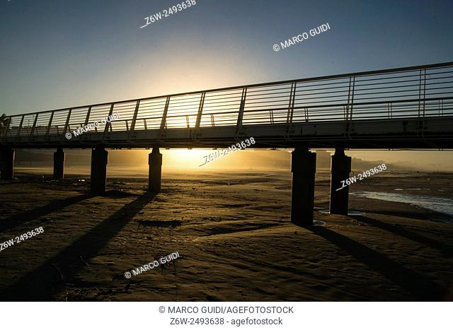 View of the pier from Lido di Camaiore Tuscany Italy
