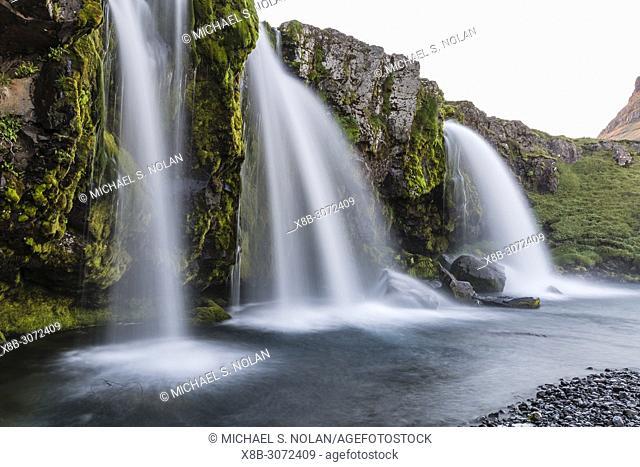 "Waterfall near Kirkjufell, """"Church Mountain"""", just outside the town of Grundarfjörður on the Snæfellsnes Peninsula, Iceland"