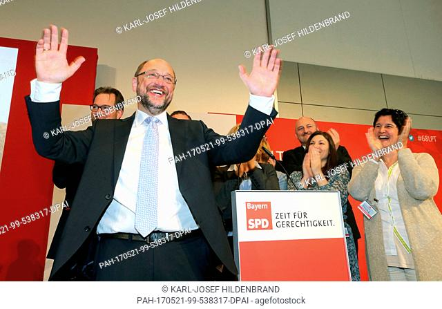 The SPD's candidate for Chancellor, Martin Schulz, stands on the podium after a speech along with members of the party's presidium during the SPD's Bavaria...