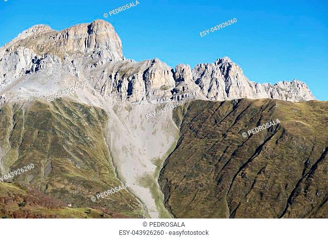 Peaks in Lescun Cirque. Aspe Valley, Pyrenees, France