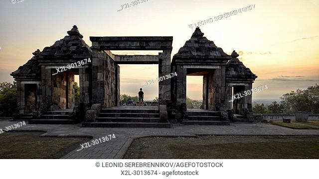 The main gate of Ratu Boko Palace compound at sunset. Special Region of Yogyakarta, Java, Indonesia