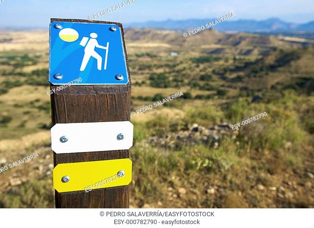 walking signal in a spanish landscape, Tierz, Huesca, Aragon, Spain