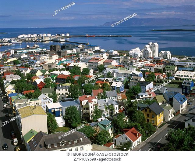 Iceland Reykjavik general aerial view