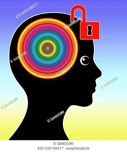 Concept sign of a woman unleashing her creative mind