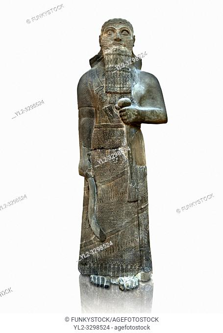 "Neo-Assyrian basalt statue of King Shalmaneser III (858-824 B. C) . Inscription reads ""Shalmaneser, the great king, the mighty king, king of all four region"