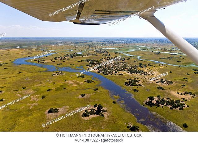 Aerial view over the Okavango Delta, Botswana, Africa