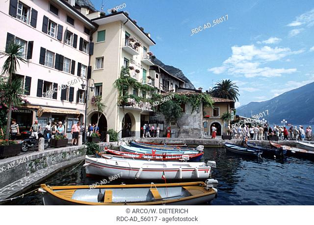 Boats in harbour of Limone Lake Garda Italy