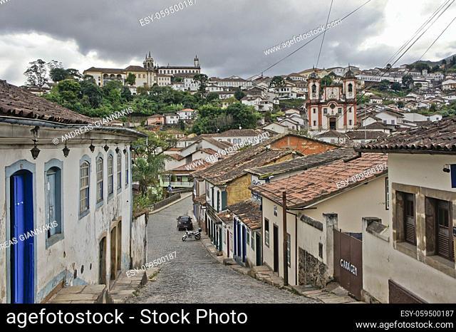 Ouro Preto, Old city street view, Brazil, South America