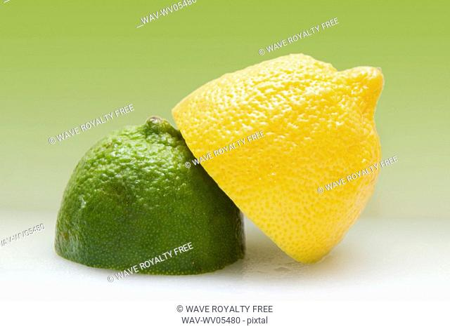 1/2 organic lemon and 1/2 lime