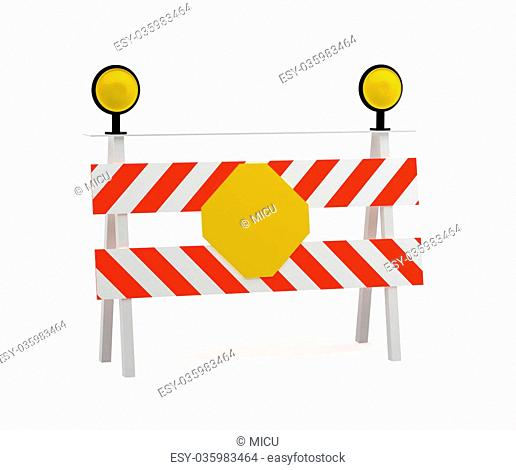 under construction stop sign. 3d rendering - isolated on white background