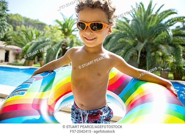 Young boy enjoys summer
