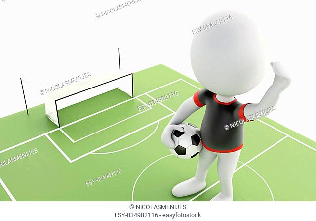 3d illustration. White people with Soccer ball on a soccer field. Sports concept. Isolated white background