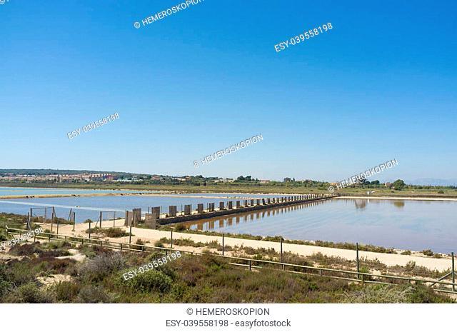 Pools of Santa Pola salt marsh under Mediterranean sun