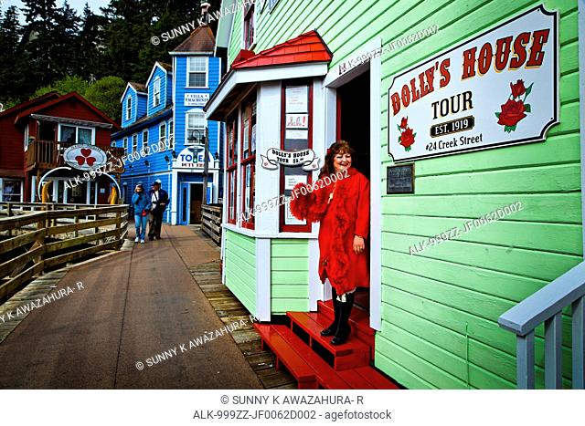 Legend Madam Dolly at Dolly's House Museum, Creek Street, Ketchikan, Southeast Alaska