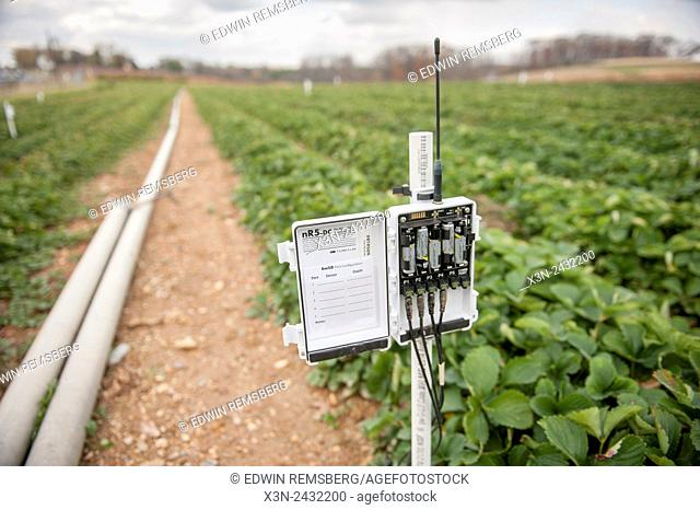 Moisture sensing unit at an orchard in Montgomery County, Maryland, USA