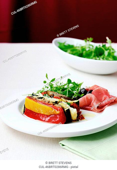 Plate of terrine and vegetables