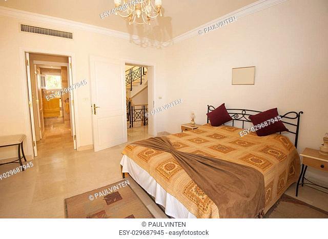 Interior design of a bedroom in luxury villa