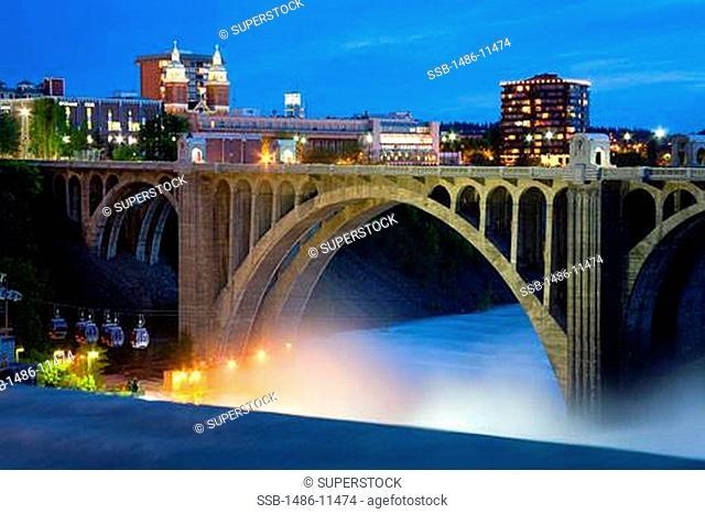 Arch bridge across a river, Maple Street Bridge, Spokane River, Riverfront Park, Spokane, Spokane County, Washington State, USA