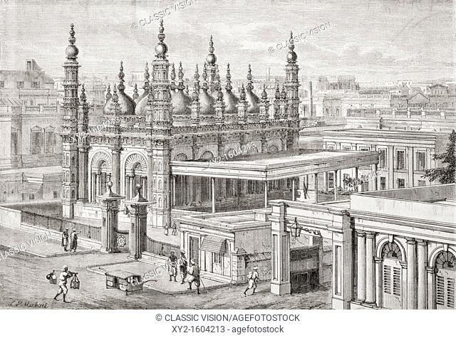 The Ghulam Muhammed Mosque in Dhurrumtollah, now known as Dharmatala, Calcutta, India in the mid 19th century  From L'Univers Illustre published 1866