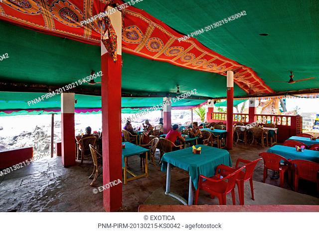 Tourists in a restaurant, Outback Bar And Restaurant, Arambol, North Goa, Goa, India