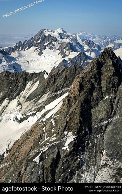 Aerial view of mountain covered with snow, Mt. Cook National Park, New Zealand