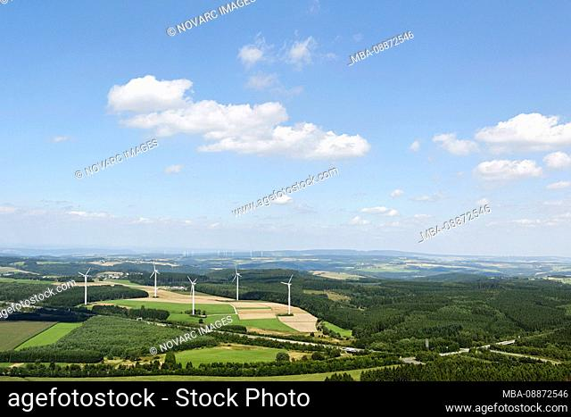 Aerial view, wind turbines in Hunsrck, Rhineland-Palatinate, Germany