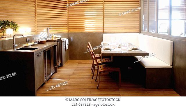 Modern interior. Loft. Kitchen and living room