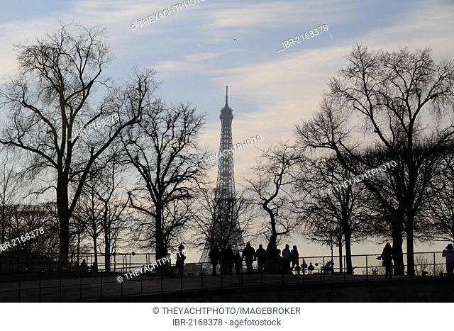 Eiffel Tower in the winter, as seen from the Place de la Concorde, Paris, France, Europe
