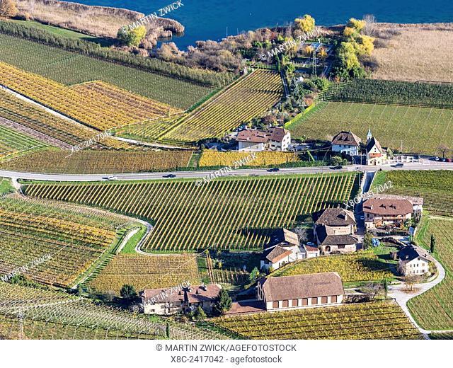 Lake Kalterer See (Lago di Caldaro) and vineyards during autumn. Europe, Central Europe, South Tyrol, Italy