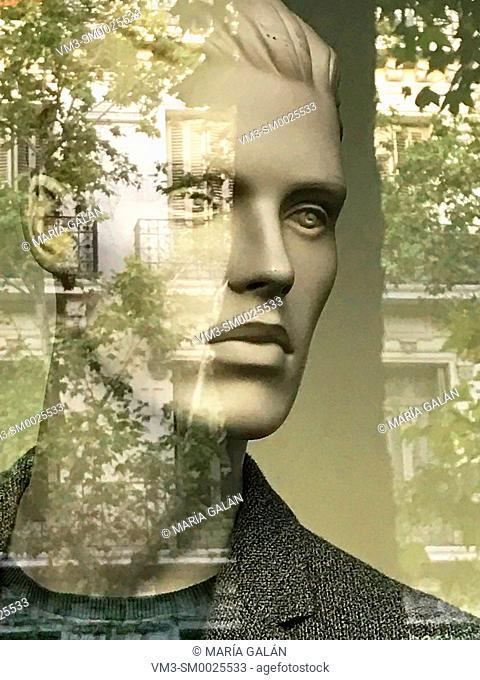 Mannequin's face. Serrano street, Madrid, Spain