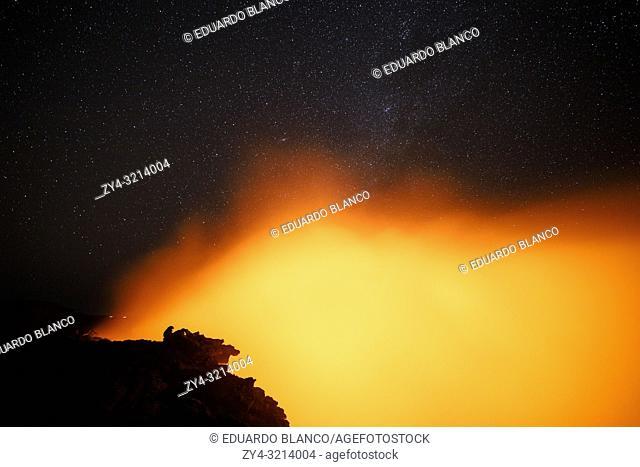 Erta Ale volcano at night. Danakil Depression desert in Ethiopia. Africa