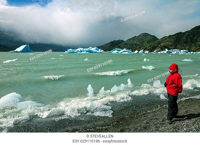 Tourist looking at icebergs from the Grey Glacier in Grey Lake in the Southern Patagonian Ice Field in Torres del Paine National Park in southern Chile
